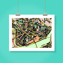 "Load image into Gallery viewer, Cambridge, MA (Green). 16x20"" Matted Print - Abstract City Map Art by Carland Cartography"