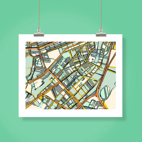 Boston South End - Abstract City Map Art by Carland Cartography