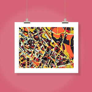 "Somerville, MA. 16x20"" Matted Print - Abstract City Map Art by Carland Cartography"