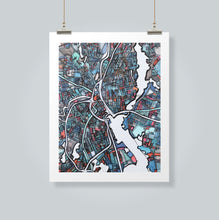 "Load image into Gallery viewer, Providence, RI. 20x24"" Matted Print - Abstract City Map Art by Carland Cartography"