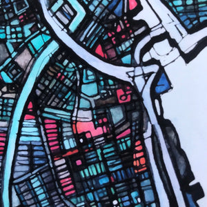 "Providence, RI. 20x24"" Matted Print - Abstract City Map Art by Carland Cartography"