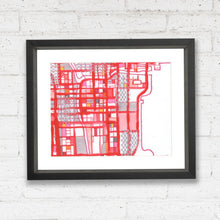 "Load image into Gallery viewer, Chicago Loop (Red) - Original 16x20"" Drawing - Abstract City Map Art by Carland Cartography"