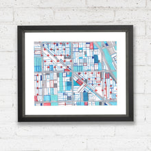 "Load image into Gallery viewer, Wicker Park, Chicago. Original 16x20"" Drawing - Abstract City Map Art by Carland Cartography"