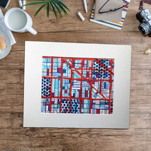 "Load image into Gallery viewer, Logan Square, Chicago (Blue) - Original 16x20"" Drawing - Abstract City Map Art by Carland Cartography"