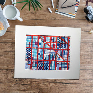 "Logan Square, Chicago (Blue) - Original 16x20"" Drawing - Abstract City Map Art by Carland Cartography"