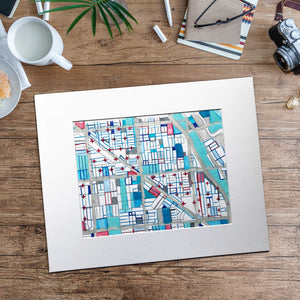 "Wicker Park, Chicago. Original 16x20"" Drawing - Carland Cartography"