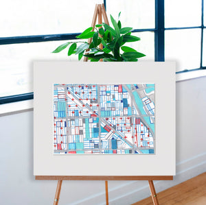 "Wicker Park, Chicago. Original 16x20"" Drawing - Abstract City Map Art by Carland Cartography"