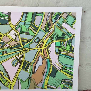Brookline Village, Boston MA - Abstract City Map Art by Carland Cartography