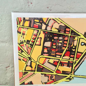 East Cambridge, MA - Abstract City Map Art by Carland Cartography