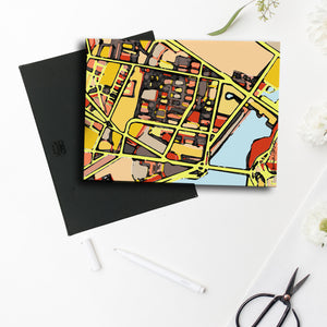 "East Cambridge MA. 11x14"" Canvas Print - Abstract City Map Art by Carland Cartography"