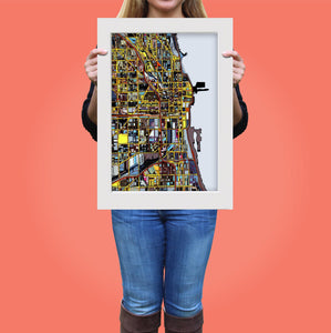 "Chicago IL. 20x24"" Matted Print - Abstract City Map Art by Carland Cartography"