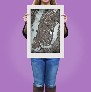 "Manhattan NYC. 20x24"" Matted Print - Abstract City Map Art by Carland Cartography"