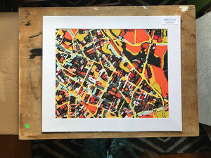 "Somerville, MA. 20x24"" Matted Print - Abstract City Map Art by Carland Cartography"