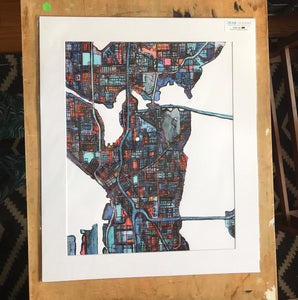 "Seattle WA. 20x24"" Matted Print - Abstract City Map Art by Carland Cartography"