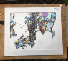 "Load image into Gallery viewer, Newport RI. 20x24"" Matted Print - Abstract City Map Art by Carland Cartography"