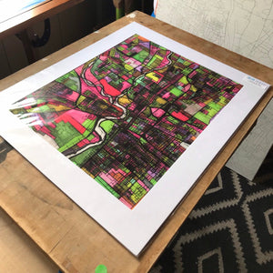 "Columbus OH. 20x24"" Matted Print - Abstract City Map Art by Carland Cartography"