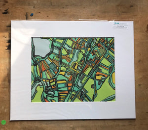 "Jamaica Plain, MA. 16x20"" Matted Print - Abstract City Map Art by Carland Cartography"