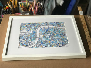 "London, UK. Original FRAMED 16x20"" Drawing - Abstract City Map Art by Carland Cartography"