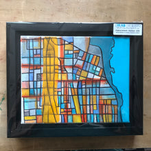"Load image into Gallery viewer, Evanston IL (Orange) - 8x10"" Framed Original Drawing on Canvas - Abstract City Map Art by Carland Cartography"