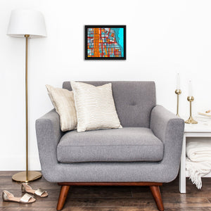 "Evanston IL (Orange) - 8x10"" Framed Original Drawing on Canvas - Abstract City Map Art by Carland Cartography"