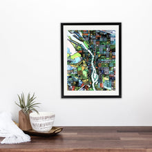 "Load image into Gallery viewer, Portland OR. 20x24"" Matted Print - Abstract City Map Art by Carland Cartography"