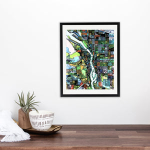 "Portland OR. 20x24"" Matted Print - Abstract City Map Art by Carland Cartography"