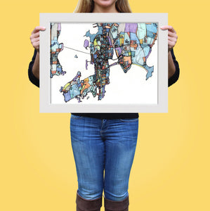 "Newport RI. 20x24"" Matted Print - Abstract City Map Art by Carland Cartography"