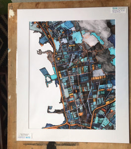 "Berkeley CA. 20x24"" Matted Print - Abstract City Map Art by Carland Cartography"