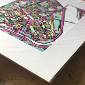 "Cambridge MA (Purple). 16x20"" Matted Print - Abstract City Map Art by Carland Cartography"