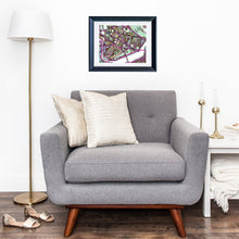 "Load image into Gallery viewer, Cambridge MA (Purple). 16x20"" Matted Print - Abstract City Map Art by Carland Cartography"