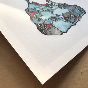 Block Island, RI - Abstract City Map Art by Carland Cartography