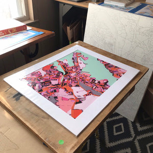 "Salem MA. 20x24"" Matted Print - Abstract City Map Art by Carland Cartography"