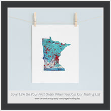 Load image into Gallery viewer, MINNESOTA State Map - Abstract City Map Art by Carland Cartography