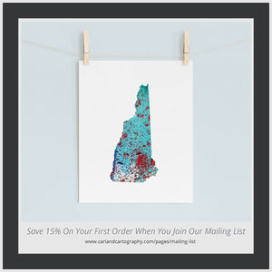 NEW HAMPSHIRE State Map - Abstract City Map Art by Carland Cartography