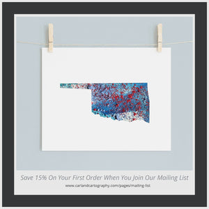 OKLAHOMA State Map - Abstract City Map Art by Carland Cartography