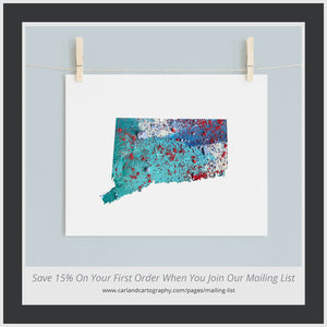 CONNECTICUT State Map - Abstract City Map Art by Carland Cartography