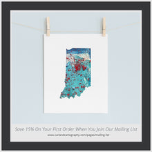 Load image into Gallery viewer, INDIANA State Map - Abstract City Map Art by Carland Cartography