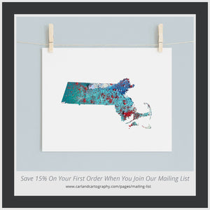 MASSACHUSETTS State Map - Abstract City Map Art by Carland Cartography