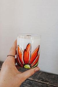 Glass red tulips design