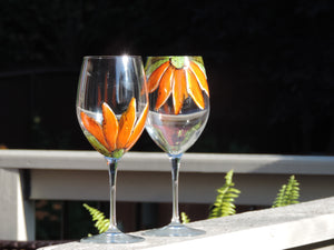 Duo de verres à vin design fleur orange