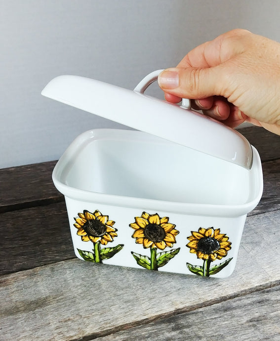 Beurrier 1 livre design tournesol en porcelaine