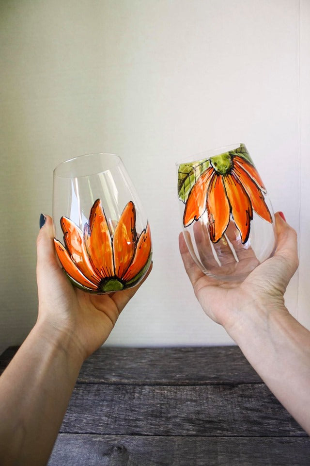 Duo de verres sans pied design fleur orange