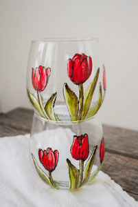 Duo de verres sans pied design tulipes rouges