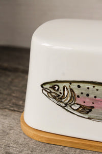 Fish butter dish with bamboo base