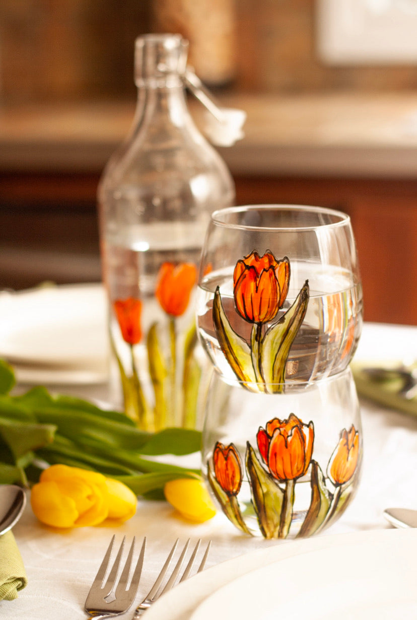 Duo de verres sans pied design tulipes orange