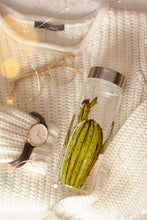 Load image into Gallery viewer, Cactus design glass water bottle
