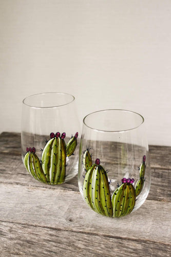 Duo of glasses without base cactus design