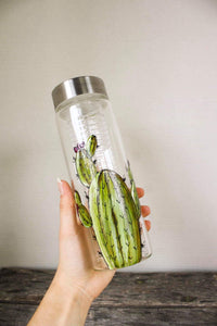 Cactus design glass water bottle