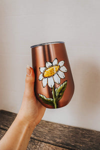 Handpainted tumbler design daisy by Pero