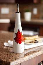 Load image into Gallery viewer, Bottle of oil or vinegar, maple syrup. maple leaf design